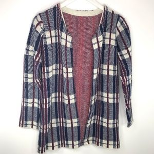 Vintage Woven Wool Cardigan Red White Blue Plaid